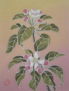 林檎の花 草木染による染額作品