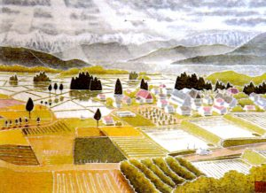 須坂風景 41×31センチ 草木染による染額作品
