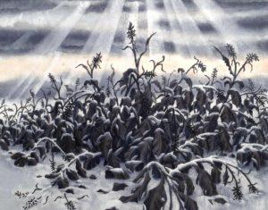 冬のカンナ 草木染 第79回第一美術展(2008)