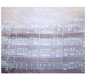 楽譜(ビバルディの春) 草木染ろうけつスカーフ