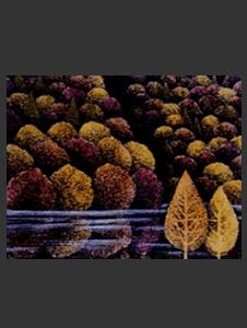 秋の湖 33×24センチ 草木染による染額作品